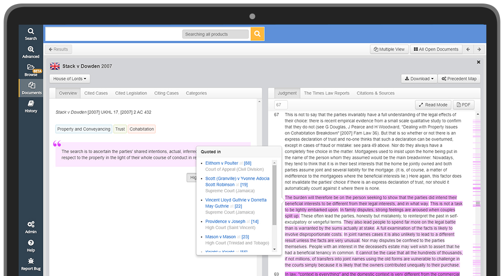JustisOne's Key Paragraphs feature, showing the most cited paragraphs of a judgment